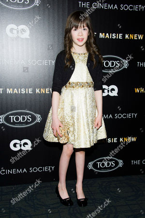 """Onata Aprile attends a screening of """"What Maisie Knew"""" hosted by The Cinema Society with Tod's and GQ on in New York"""