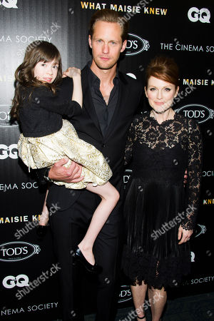 """Onata Aprile, Alexander Skarsgard and Julianne Moore attend a screening of """"What Maisie Knew"""" hosted by The Cinema Society with Tod's and GQ on in New York"""