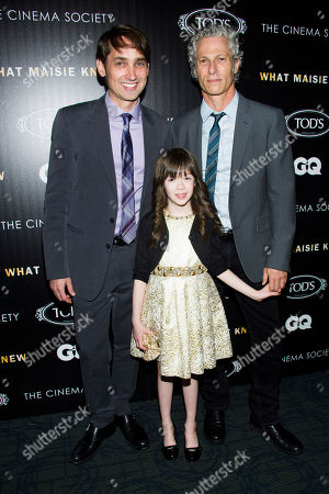 "Stock Photo of Scott McGehee, left, Onata Aprile and David Siegel attend a screening of ""What Maisie Knew"" hosted by The Cinema Society with Tod's and GQ on in New York"