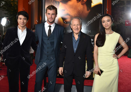 "Leehom Wang, from left, Chris Hemsworth, Michael Mann and Wei Tang arrive at the world premiere of ""Blackhat"" at the TCL Chinese Theatre, in Los Angeles"