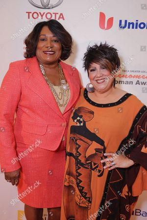 YWCA Greater Los Angeles President & CEO - Faye Washington and Tata Vega seen at YWCA Greater Los Angeles Phenomenal Woman of the Year Award at the Omni Los Angeles Hotel, in Los Angeles, CA