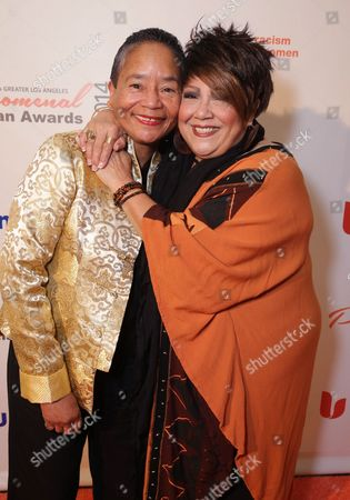 Synthia Saint James and Tata Vega seen at YWCA Greater Los Angeles Phenomenal Woman of the Year Award at the Omni Los Angeles Hotel, in Los Angeles, CA
