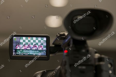 (L-R) Swiss Davis Cup Team's players Luca Margaroli, Henri Laaksonen, Swiss Davis Cup Team captain's Severin Luethi, Swiss Davis Cup Team's players Marco Chiudinelli and Adrian Bodmer, are seen in a camera display during the draw ceremony for the Davis Cup world group playoffs between Switzerland and Belarus in Biel, Switzerland, 14 September 2017.