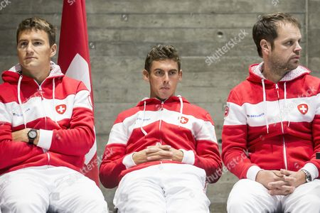 (L-R) Swiss Davis Cup Team's players Marco Chiudinelli and Henri Laaksonen and Swiss Davis Cup Team's captain Severin Luethi attend the draw ceremony for the Davis Cup world group playoffs between Switzerland and Belarus in Biel, Switzerland, 14 September 2017.