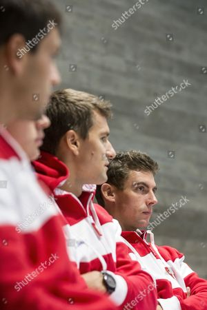 (L-R) Swiss Davis Cup Team's players Luca Margaroli, Adrian Bodmer, Marco Chiudinelli and Henri Laaksonen, attend the draw ceremony for the Davis Cup world group playoffs between Switzerland and Belarus in Biel, Switzerland, 14 September 2017.