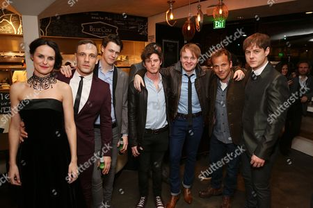 """From left, cast members Leanne Best (plays Astrid Kirchherr), Nick Blood (plays Stuart Sutcliffe), Dan Westwick (plays George Harrison), Oliver Bennett (plays Pete Best), Daniel Healy (plays Paul McCartney), actor Stephen Dorff and cast member Andrew Knott (plays John Lennon) pose during the party for the opening night performance of """"Backbeat"""" at the Center Theatre Group/Ahmanson Theatre on in Los Angeles, Calif"""