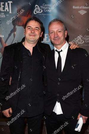 """Stock Picture of From left, """"Backbeat"""" Music Supervisor Paul Stacey and """"Backbeat"""" writer Iain Softley pose during the arrivals for the opening night performance of """"Backbeat"""" at the Center Theatre Group/Ahmanson Theatre on in Los Angeles, Calif"""
