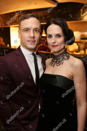 """From left, cast members Nick Blood (plays Stuart Sutcliffe) and Leanne Best (plays Astrid Kirchherr) pose during the party for the opening night performance of """"Backbeat"""" at the Center Theatre Group/Ahmanson Theatre on in Los Angeles, Calif"""