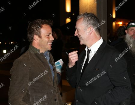 """From left, actor Stephen Dorff and """"Backbeat"""" writer Iain Softley talk during the arrivals for the opening night performance of """"Backbeat"""" at the Center Theatre Group/Ahmanson Theatre on in Los Angeles, Calif"""