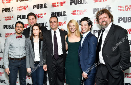 """Stock Photo of Actors, from left, Sanjit De Silva, John Krasinski, Sarah Burgess, Hank Azaria, Claire Danes, director Thomas Kail and Public Theater artistic director Oskar Eustis pose together at The Public Theater opening night celebration of """"Dry Powder"""", in New York"""