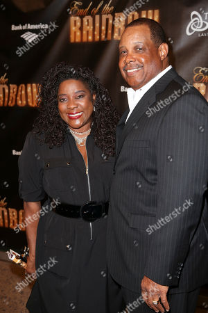 """From left, actress Loretta Devine and husband Glenn Marshall pose during the arrivals for the opening night performance of """"End of the Rainbow"""" at Center Theatre Group/Ahmanson Theatre on in Los Angeles, Calif"""