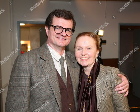 """From left, cast member Michael Cumpsty and actress Kate Burton pose backstage after the opening night performance of """"End of the Rainbow"""" at Center Theatre Group/Ahmanson Theatre on in Los Angeles, Calif"""