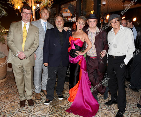 """From left, cast members Michael Cumpsty, Erik Heger, Playwright Peter Quilter, cast member Tracie Bennett, Director Terry Johnson and cast member Miles Anderson pose during the party for the opening night performance of """"End of the Rainbow"""" at Center Theatre Group/Ahmanson Theatre on in Los Angeles, Calif"""