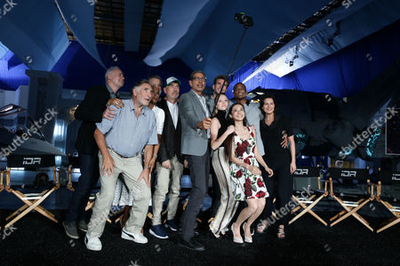 """Brent Spiner, Judd Hirsch, Vivica A. Fox, Bill Pullman, Director/Writer Roland Emmerich, Jeff Goldblum, Liam Hemsworth Maika Monroe, Grace Huang, Jessie Usher and Sela Ward seen at the """"Independence Day Resurgence"""" Global Production Event, in Albuquerque, New Mexico"""