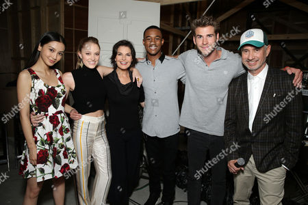 """Grace Huang, Maika Monroe, Sela Ward, Jessie Usher, Director/Writer Roland Emmerich and Liam Hemsworth seen at the """"Independence Day Resurgence"""" Global Production Event, in Albuquerque, New Mexico"""