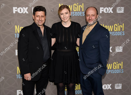"Liz Meriwether, center, creator/executive producer of ""The New Girl,"" poses with writer/executive producer Brett Baer, left, and writer/executive producer Dave Finkel at a party celebrating the 100th episode of the television series at the W Hotel Westwood, in Los Angeles"