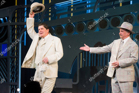 """Michael McGrath, left, and Mark Linn-Baker appear at the curtain call for the opening night performance of """"On the Twentieth Century"""" on in New York"""
