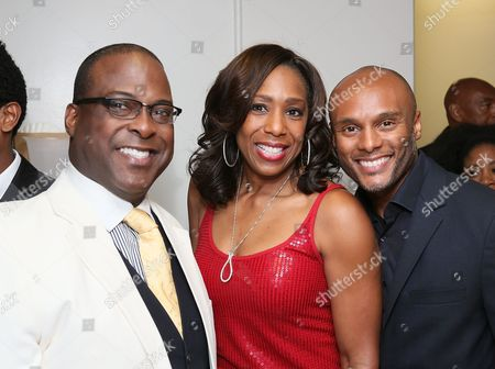 """From left, cast member Trent Armand Kendall, actress Dawnn Lewis and actor Kenny Lattimore pose backstage after the opening night performance of """"The Scottsboro Boys"""" at the Center Theatre Group/Ahmanson Theatre, in Los Angeles, Calif"""