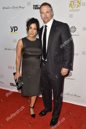 Alba Tull, left, and Thomas Tull arrive at the 15th Annual Harold and Carole Pump Foundation Gala held at the Hyatt Regency Century Plaza,, in Los Angeles