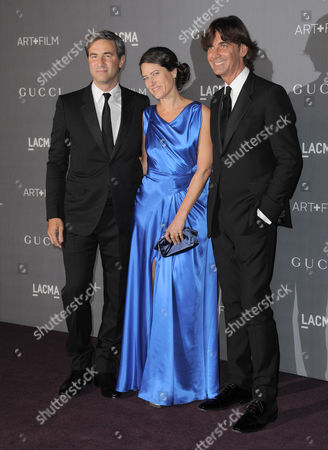 From left, LACMA director Michael Govan, Katherine Ross and Gucci CEO Patrizio di Marco arrive at the 2012 ART + FILM GALA hosted by LACMA, in Los Angeles
