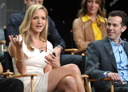 """Actress Jordana Spiro, left, and Producer Josh Berman appear on stage at the FOX TCA panel for """"The Mob Doctor"""" at the Beverly Hilton hotel, in Beverly Hills, Calif"""