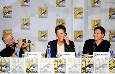 """From left, executive producer Marcos Siega, actor Kevin Bacon and creator/executive producer Kevin Williamson attend the FOX """"The Following"""" panel on Day 3 of Comic-Con International on in San Diego, Calif"""