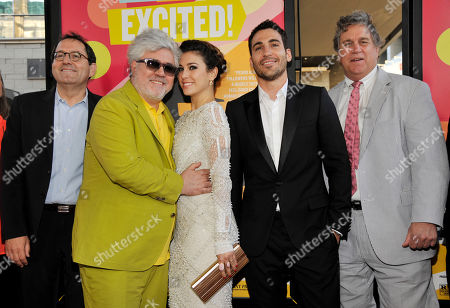 """Pedro Almodovar, second from left, director of """"I'm So Excited,"""" poses alongside, left to right, Sony Classics co-president Michael Barker, cast members Blanca Suarez and Miguel Silvestre, and Sony Classics co-president Tom Bernard at the Los Angeles Film Festival's premiere of the film at the Regal Cinemas at LA LIVE on in Los Angeles"""