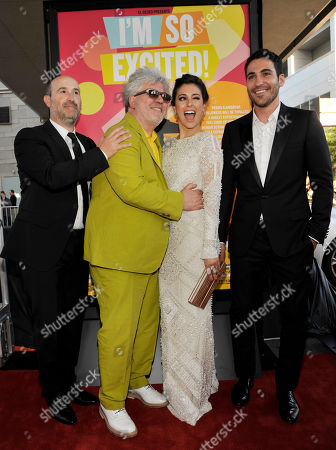 """Pedro Almodovar, second from left, director of """"I'm So Excited,"""" poses with cast members, from left, Javier Camara, Blance Suarez and Miguel Silvestre at the Los Angeles Film Festival's premiere of the film at the Regal Cinemas at LA LIVE on in Los Angeles"""