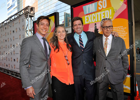 """Left to right, Film Independent co-president Sean McManus, chair of the board of directors of Film Independent Mary Sweeney, Film Independent co-president Josh Welsh and Los Angeles Film Festival artistic director David Ansen pose together at the Los Angeles Film Festival's premiere of the film """"I'm So Excited"""" at the Regal Cinemas at LA LIVE on in Los Angeles"""