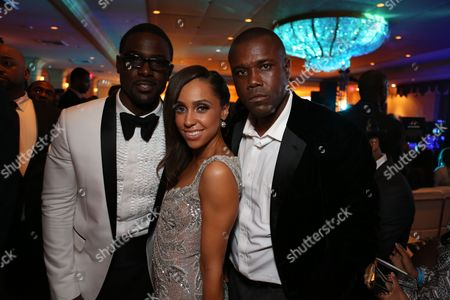 From left, Lance Gross, Rebecca Jefferson and Derek Laney pose during the 2013 NAACP Image Awards Hyundai After Party held at the Millennium Biltmore Hotel on in Los Angeles, Calif