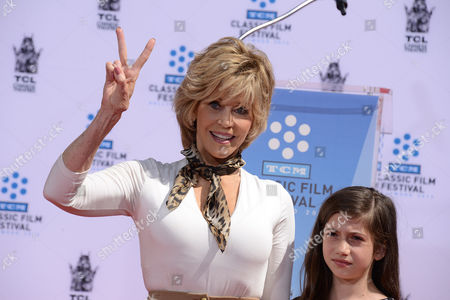 Jane Fonda, left, and her granddaughter Viva Vadim attend the 2013 TCM Classic Film Festival honors Jane Fonda with a handprint and footprint ceremony at the TCL Chinese Theatre on in Los Angeles