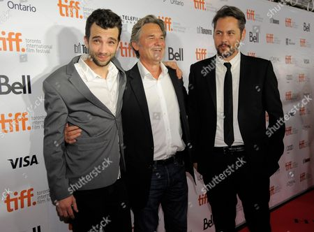 """From left, actors Jay Baruchel, Kurt Russell, and director Jonathan Sobol arrive at the premiere of """"The Art of the Steal"""" on day 7 of the Toronto International Film Festival at Roy Thomson Hall on in Toronto"""