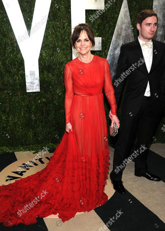 Actress Sally Field, left, and her son Sam Greisman arrive at the 2013 Vanity Fair Oscars Viewing and After Party, at the Sunset Plaza Hotel in West Hollywood, Calif