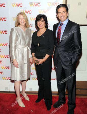 Stock Picture of President of The Women's Media Center, Julie Burton, left, journalist Christiane Amanpour and her husband James Rubin attend the 2013 Women's Media Awards hosted by The Women's Media Center, in New York
