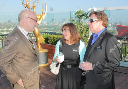 EXCLUSIVE - Chuck Dages, NATAS National Awards Committee member, and from left, Susan Nessanbaum-Goldberg and David Michaels, senior executive director of the Daytime Entertainment Emmy Awards, attend the 2014 Daytime Emmy Nominee Reception presented by the Television Academy at The London West Hollywood on