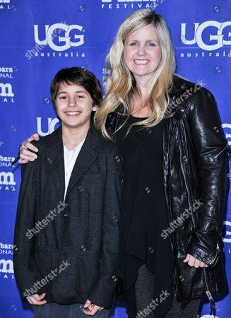 Stock Image of Jaden Rain, left, and Tina Pehme arrive at 2014 Santa Barbara International Film Festival - Montecito Award ceremony on Wednesday, Feb, 5, 2014 in Santa Barbara, Calif