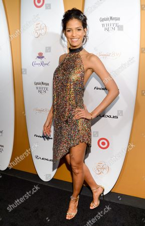 Model Cris Urena attends the 2014 Sports Illustrated Swimsuit 50th Anniversary Issue kick off event at Swimsuit Beach House on in New York