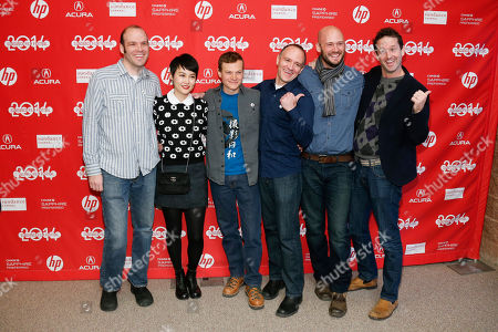 "From left to right, writer and producer Nathan Zellner, cast member Rinko Kikuchi, director of photography Sean Porter, director David Zellner, producer Chris Ohlson and Director of Programming for the Sundance Film Festival Trevor Groth pose together at the premiere of the film ""Kumiko, the Treasure Hunter"" during the 2014 Sundance Film Festival, on in Park City, Utah"