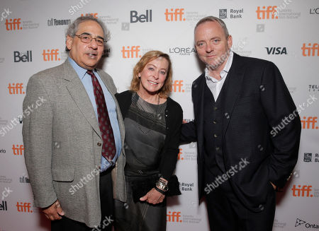 President of Fox Searchlight Steve Gilula, President of Fox Searchlight Nancy Utley and Screenwriter Dennis Lehane attend the premiere of Fox Serachlight's 'The Drop' during the 2014 Toronto International Film Festival at Princess of Wales Theatre on in Toronto, Canada