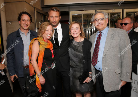 Fox Searchlight's VP of Production David Greenbaum, Fox Searchlight's President of Production Claudia Lewis, Matthias Schoenaerts, President of Fox Searchlight Nancy Utley and President of Fox Searchlight Steve Gilula attends the premiere of Fox Serachlight's 'The Drop' during the 2014 Toronto International Film Festival at Princess of Wales Theatre on in Toronto, Canada