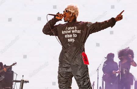"""Andre """"Andre 3000"""" Benjamin of Outkast performs at the Voodoo Music Experience, in New Orleans"""