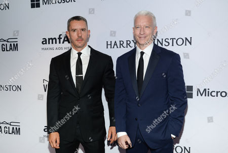 Benjamin Maisani and Anderson Cooper attend the 6th Annual amfAR New York Inspiration Gala at Spring Studios, in New York