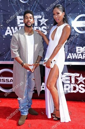 Omarion, left, and Apryl Jones arrive at the BET Awards at the Microsoft Theater, in Los Angeles