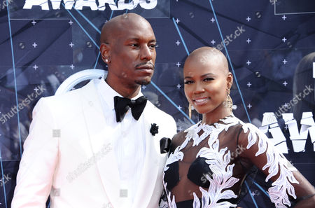 Tyrese, left, and Veronika Bozeman arrive at the BET Awards at the Microsoft Theater, in Los Angeles