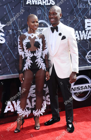 Veronika Bozeman, left, and Tyrese arrive at the BET Awards at the Microsoft Theater, in Los Angeles