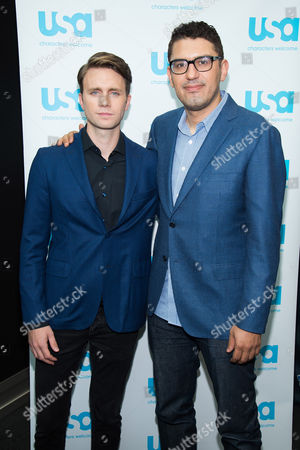 """Martin Wallstrom, left, and Sam Esmail attend a press event for USA Networks's """"Mr. Robot"""" at the 2015 New York Comic Con at the Javits Center, in New York"""