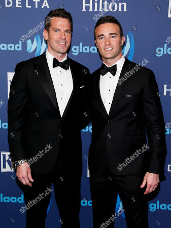 Thomas Roberts, left, and Patrick Abner, right, attend the 26th Annual GLAAD Media Awards at the Waldorf Astoria, in New York