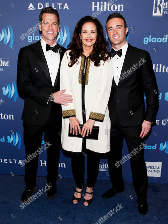 Stock Picture of Thomas Roberts, from left, Lynda Carter and Patrick Abner attend the 26th Annual GLAAD Media Awards at the Waldorf Astoria, in New York