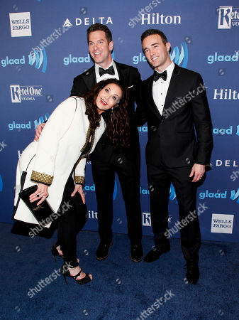 Stock Image of Lynda Carter, from left, Thomas Roberts and Patrick Abner attend the 26th Annual GLAAD Media Awards at the Waldorf Astoria, in New York