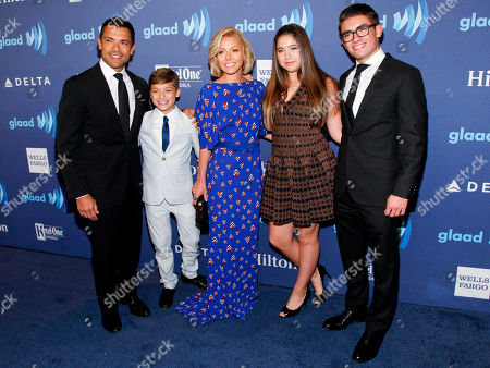 Mark Consuelos, from left, Joaquin Antonio Consuelos, Kelly Ripa, Lola Grace Consuelos and Michael Joseph Consuelos attend the 26th Annual GLAAD Media Awards at the Waldorf Astoria, in New York